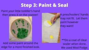 painting coaster with handprint