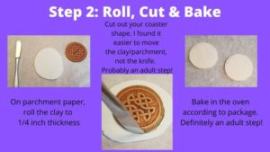 rolling and cutting clay coaster