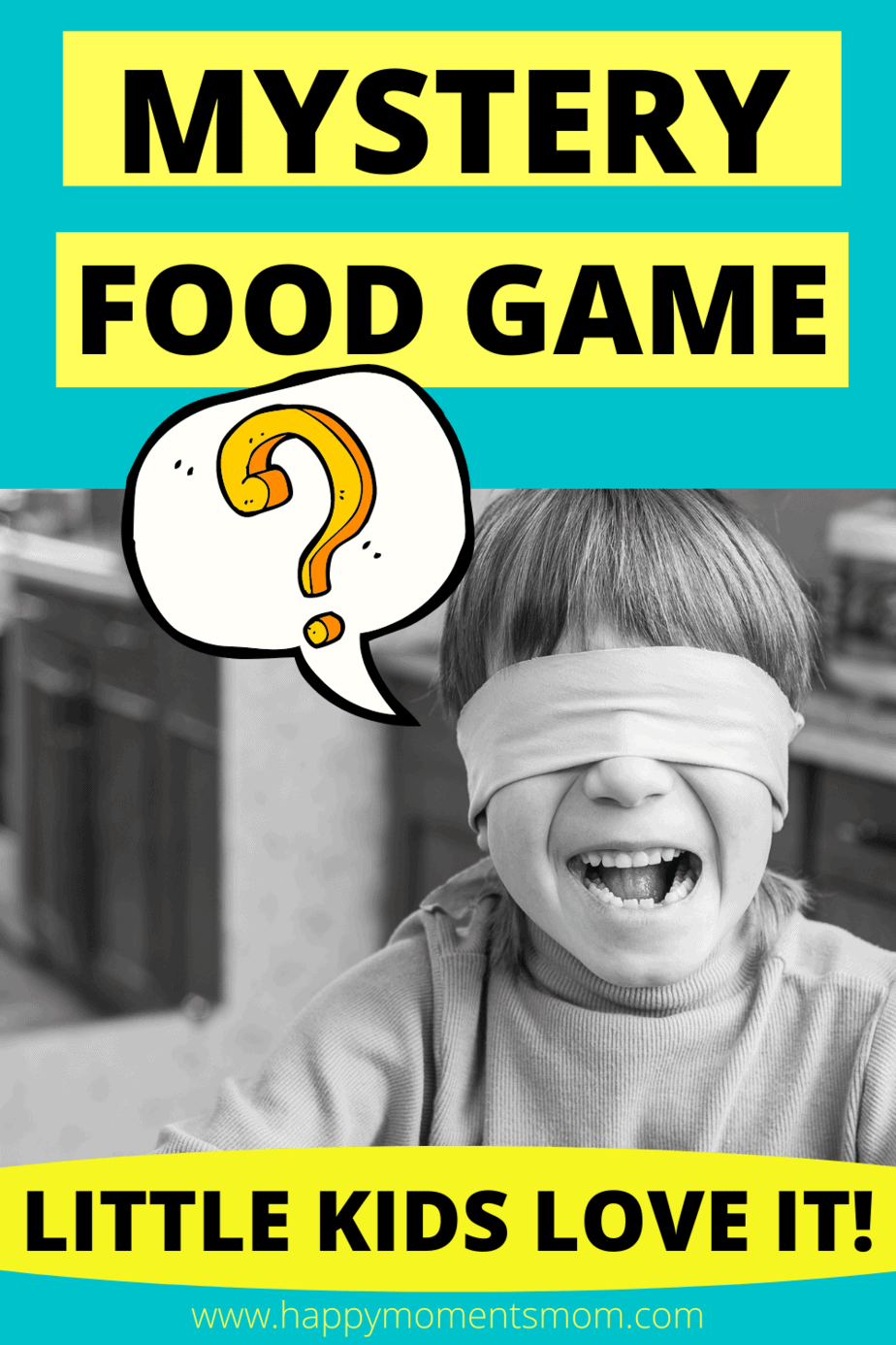 blindfolded child eating to play the mystery food game