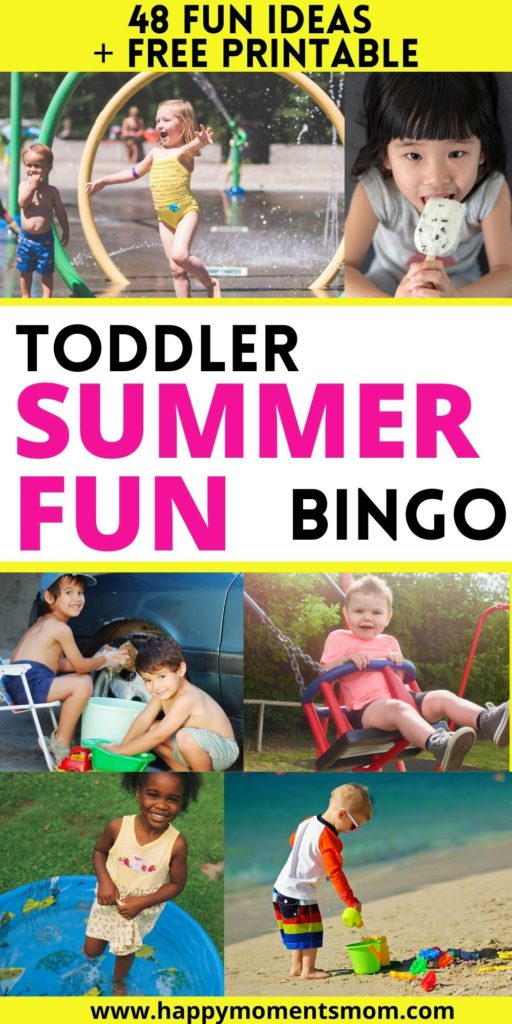 pin for post with toddlers splashing, playing in sand, swinging and car wash