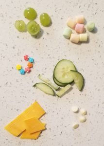 food for snack time science grapes, cheese, cucumber, marshmallows and sprinkles