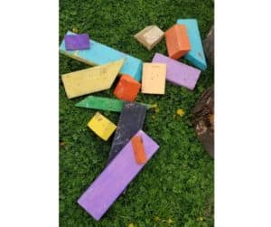painted wooden blocks made of 2x4 lumber