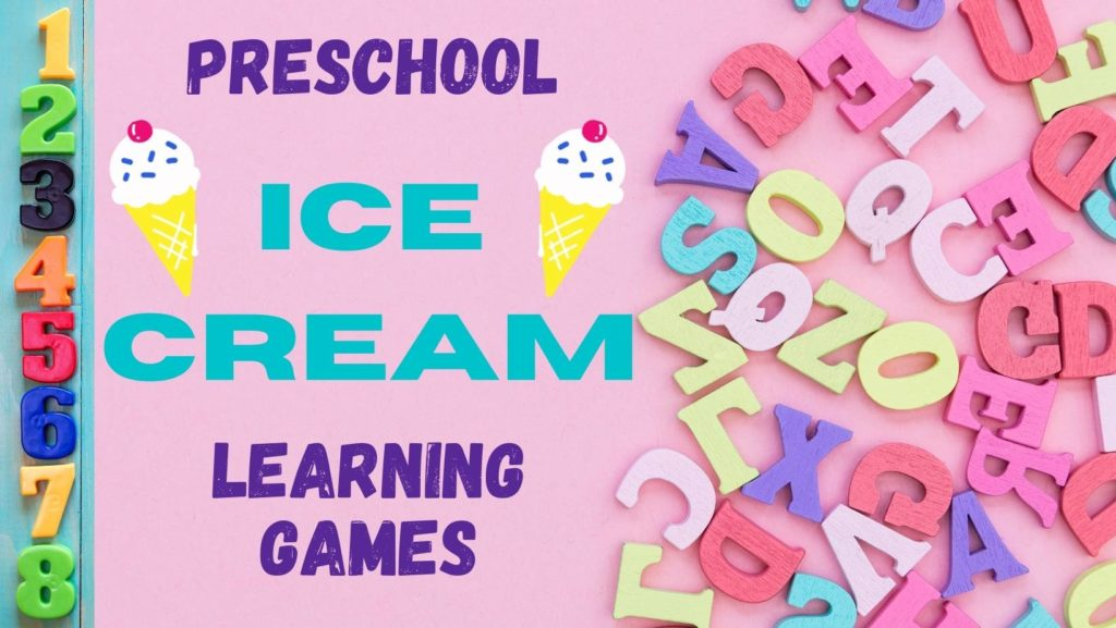 numbers and letters with ice cream cones