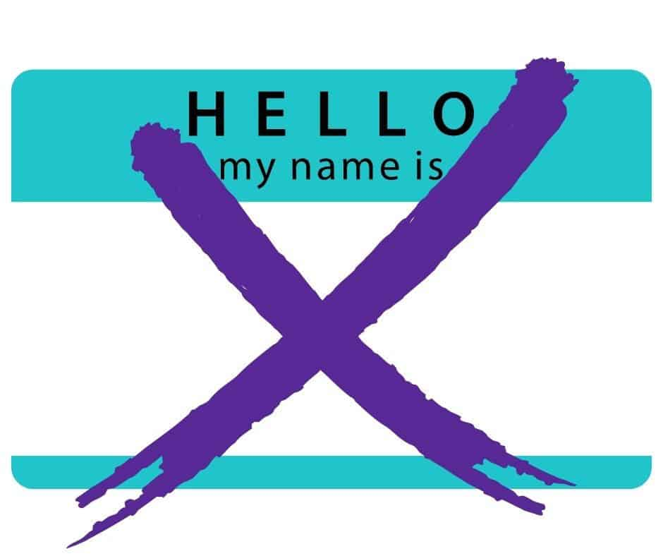 nametag crossed out