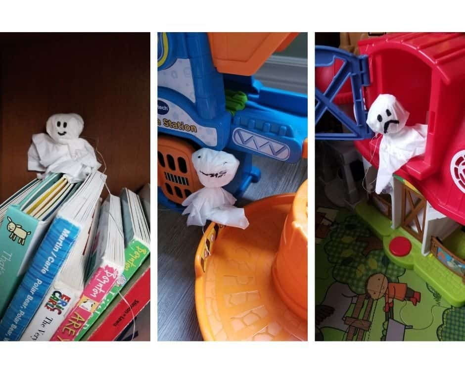 kleenex ghost hidden on books, race track and in toy farm