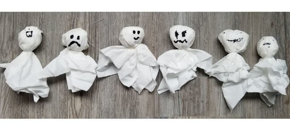kleenex ghosts with happy, sad, angry and suprised faces