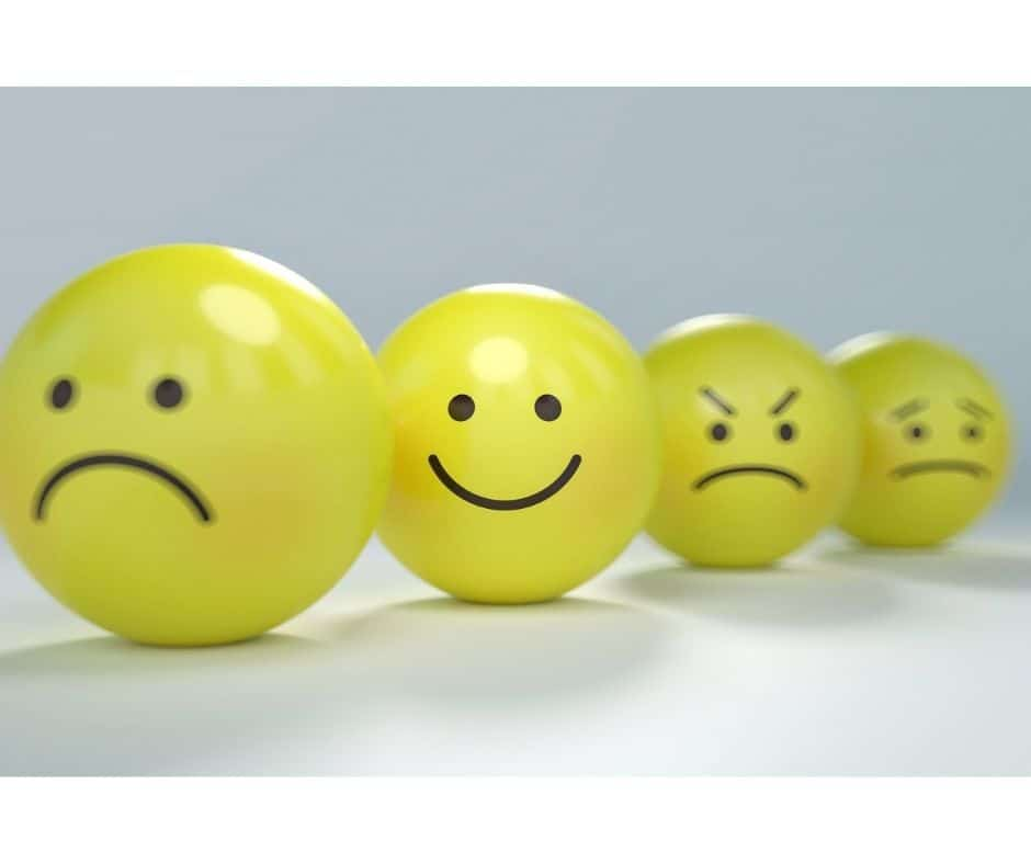 yellow faces showing different emotions